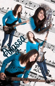 Alyssa playing bass guitar