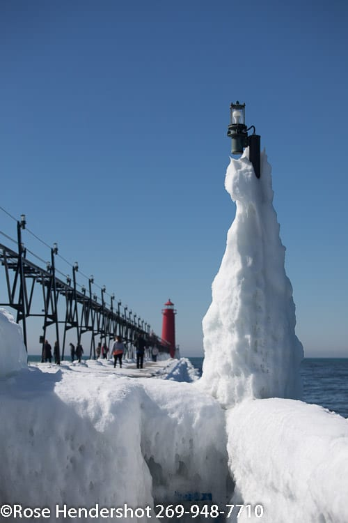 Lake Michigan lighthouse in early spring.